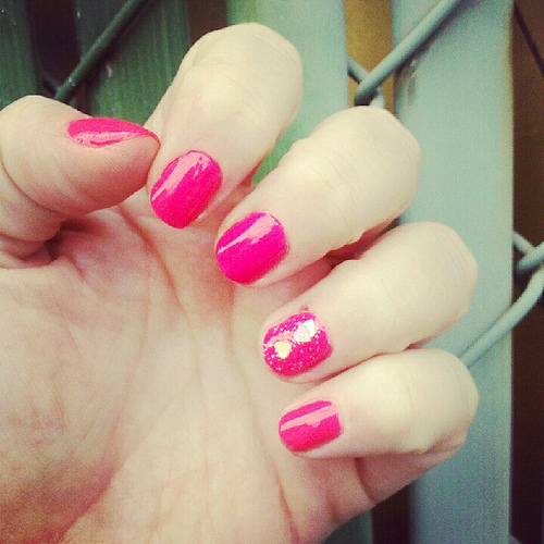 Hot pink fingernails