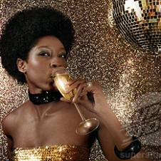 Woman drinking champagne